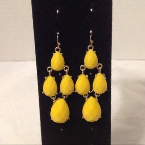 Gold Tone Yellow Beaded Dangle Earrings